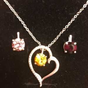 Jewelry - Swarovski Crystals Sterling Silver Heart Necklace